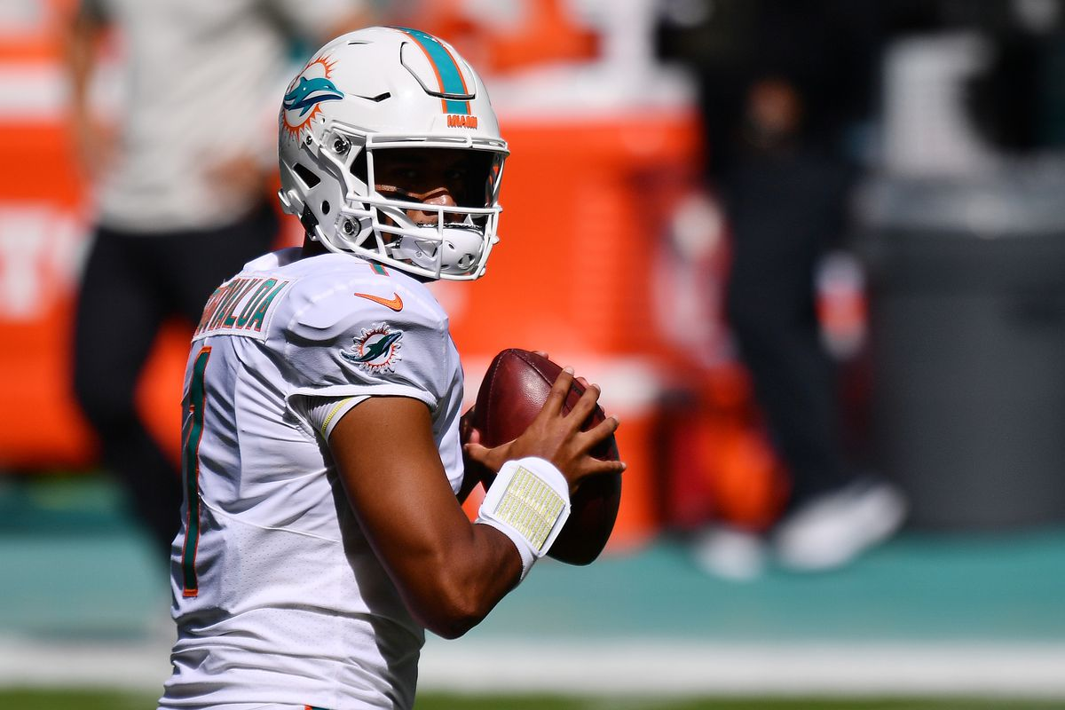 Tua Tagovailoa #1 of the Miami Dolphins warms up prior to their game against the Los Angeles Rams at Hard Rock Stadium on November 01, 2020 in Miami Gardens, Florida.