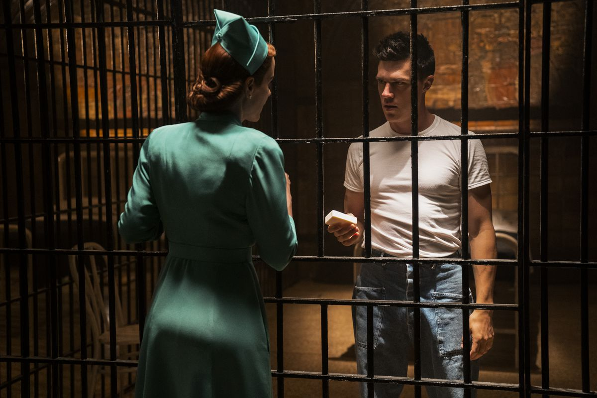 Nurse Ratched visits a man in jail in Netflix's Ratched