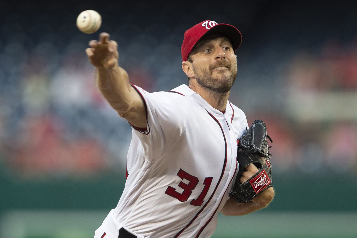 Washington Nationals starting pitcher Max Scherzer delivers a pitch during the first inning against the Baltimore Orioles at Nationals Park.