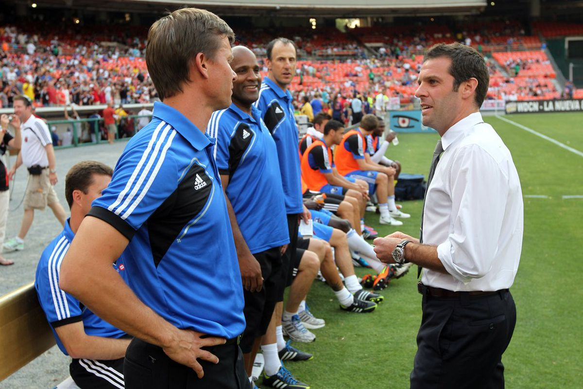 WASHINGTON, DC - JUNE 30: Head coach Ben Olsen of D.C. United speaks with head coach Jesse Marsch of the Montreal Impact at RFK Stadium on June 30, 2012 in Washington, DC.(Photo by Ned Dishman/Getty Images)