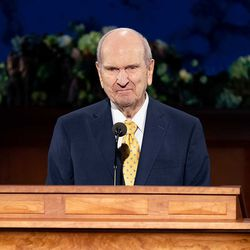 President Russell M. Nelson addresses Latter-day Saints worldwide from the Church Office Building in Salt Lake City during the 190th Annual General Conference on Saturday morning, April 4, 2020.