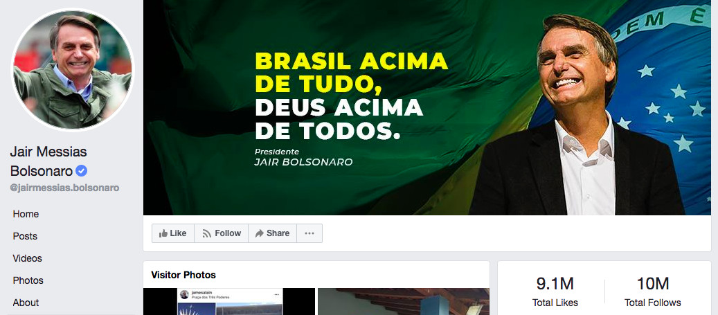 "Brazilian President Jair Bolsonaro's Facebook page reads ""Brasil acima de tudo, deus acima de todos."""