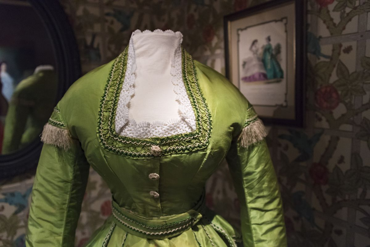 09303a13b35c65 One of the first green dresses ever, from around 1778, at the Bata Shoe  Museum. The dress tests positive for arsenic in the dye.