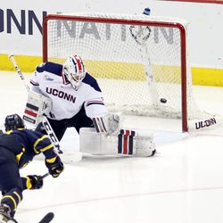 The Merrimack Warriors take on the UConn Huskies in a men's college hockey game at the XL Center in Hartford, CT on January 5, 2018.