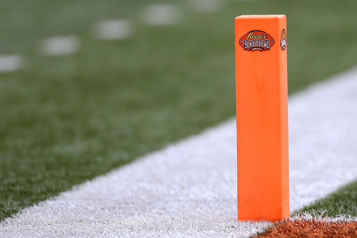 The Reese's logo is seen during the Reese's Senior Bowl at Ladd-Peebles Stadium on January 27, 2018 in Mobile, Alabama.