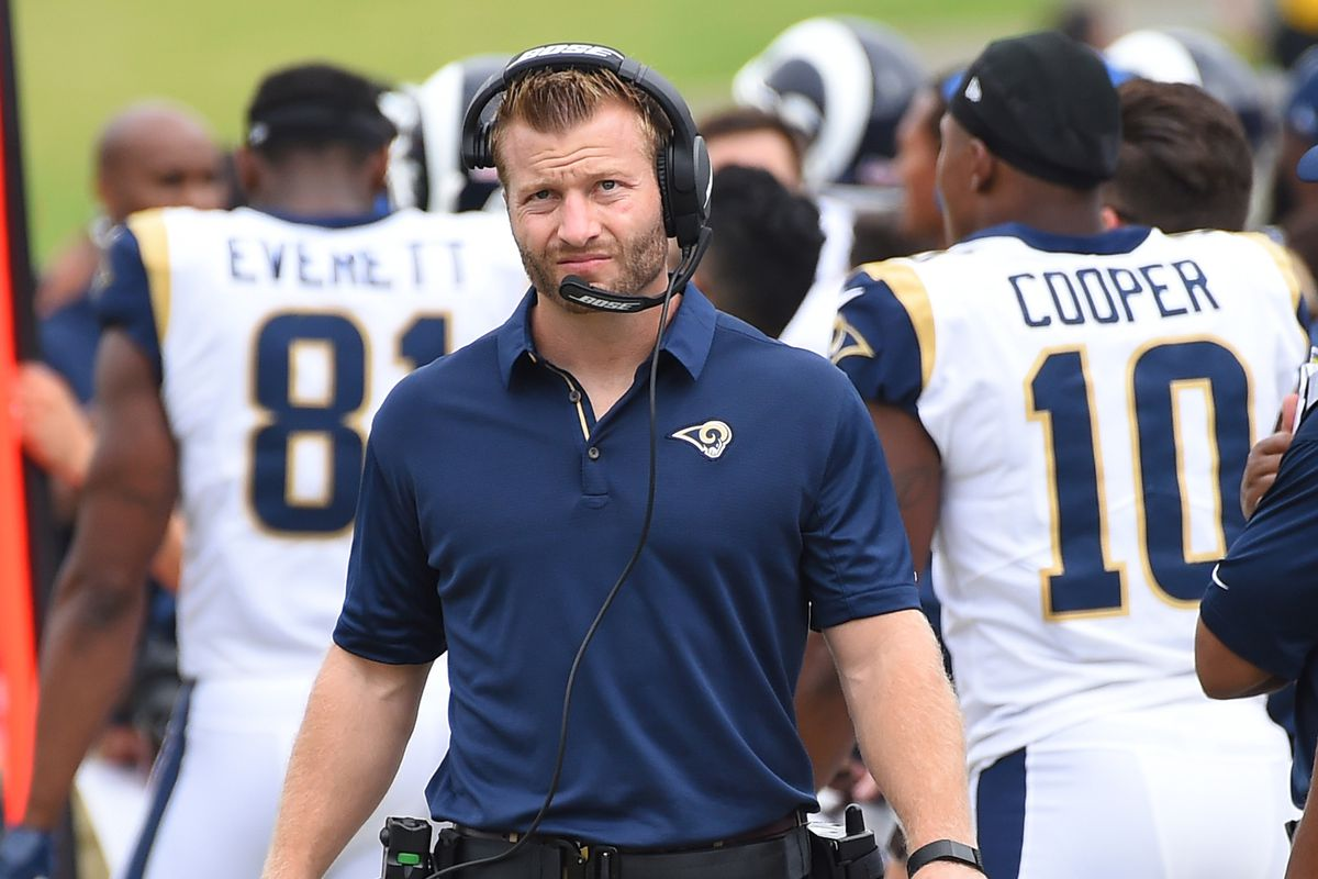 Los Angeles Rams HC Sean McVay on the sidelines during the second quarter of the Week 2 loss to Washington, September 17, 2017.