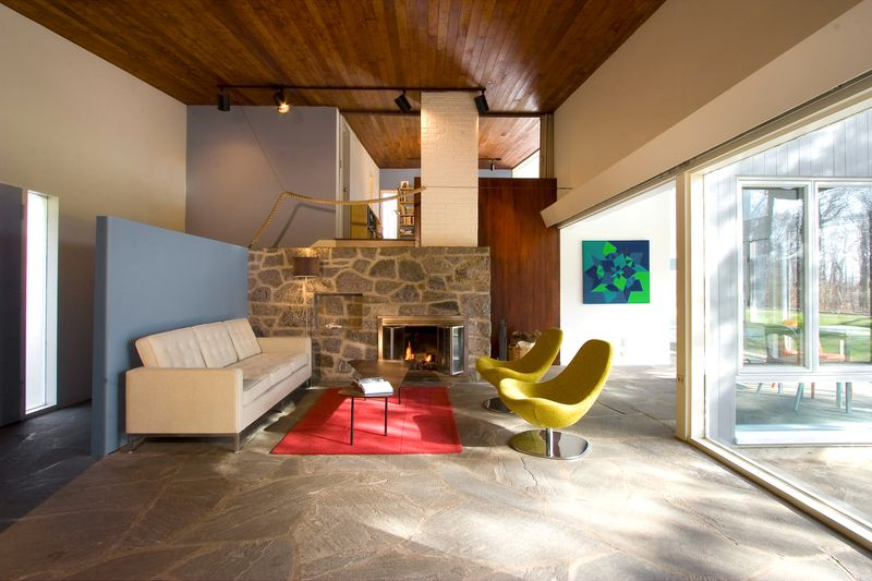 Living room with stone floors