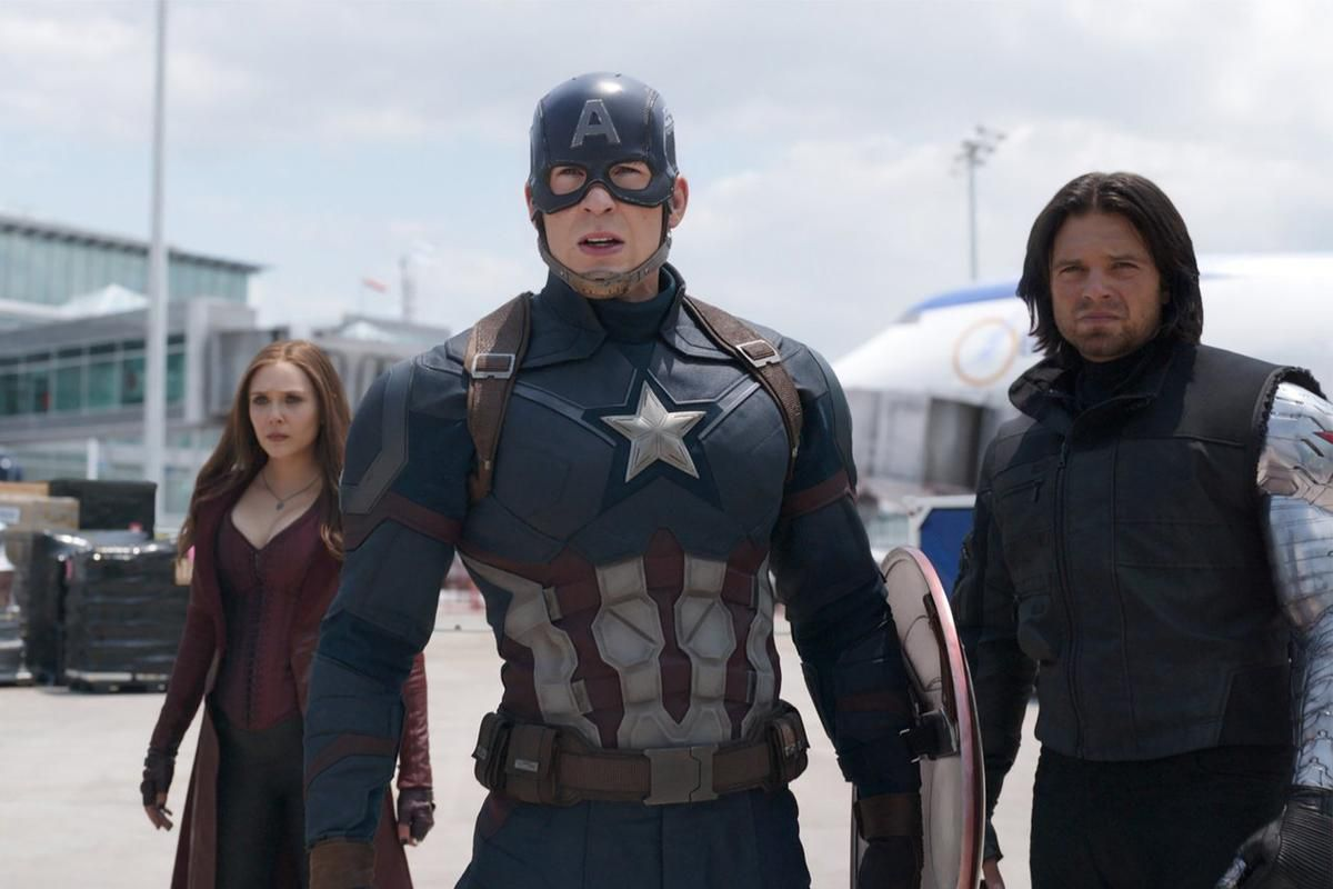 """From left, Scarlet Witch (Elizabeth Olsen), Captain America (Chris Evans) and Winter Soldier (Sebastian Stan) prepare to square off against other members of the Avengers team in """"Captain America: Civil War,"""" now on Blu-ray and DVD."""