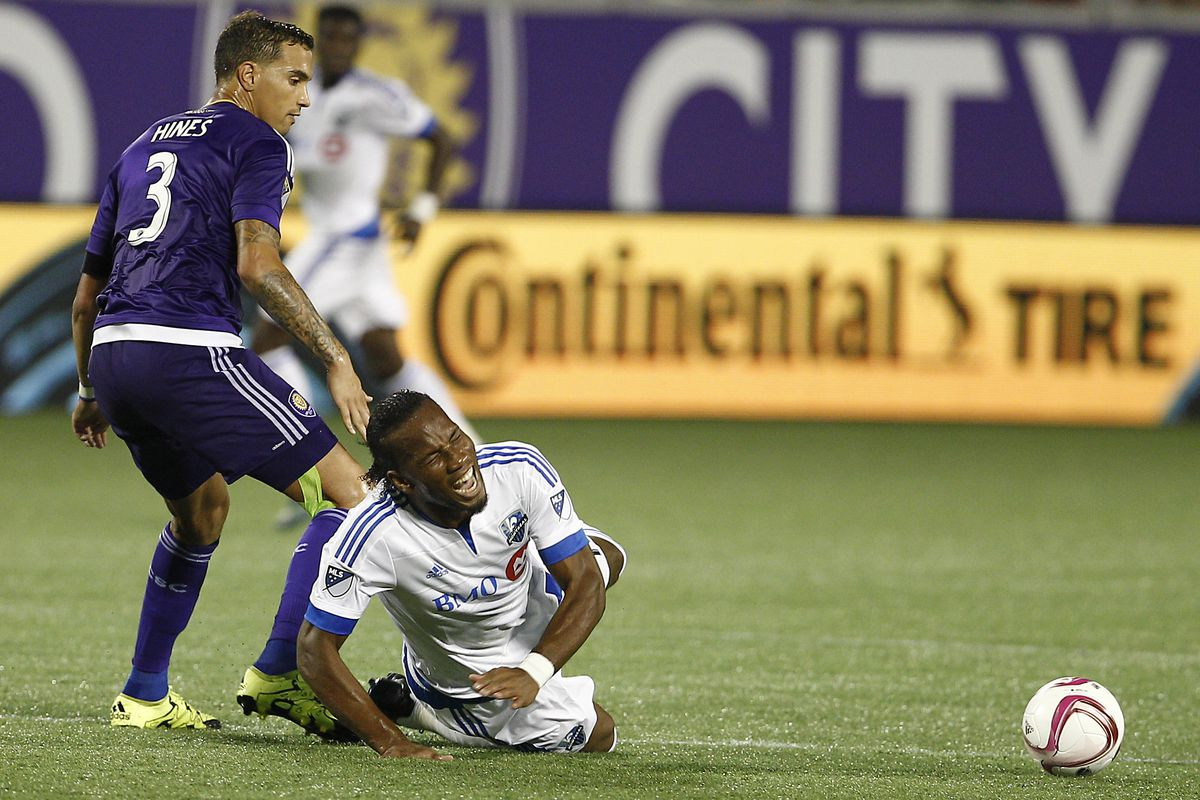 Drogba gets taken down from behind in IMFC's defeat to Orlando on Saturday.