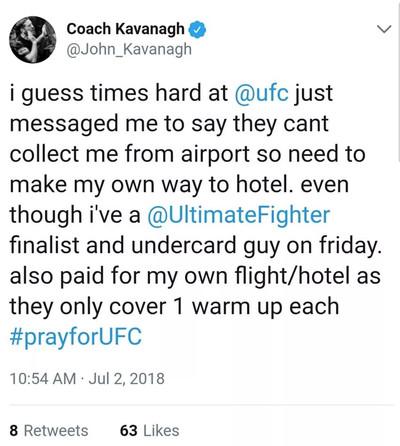 John Kavanagh Tweet