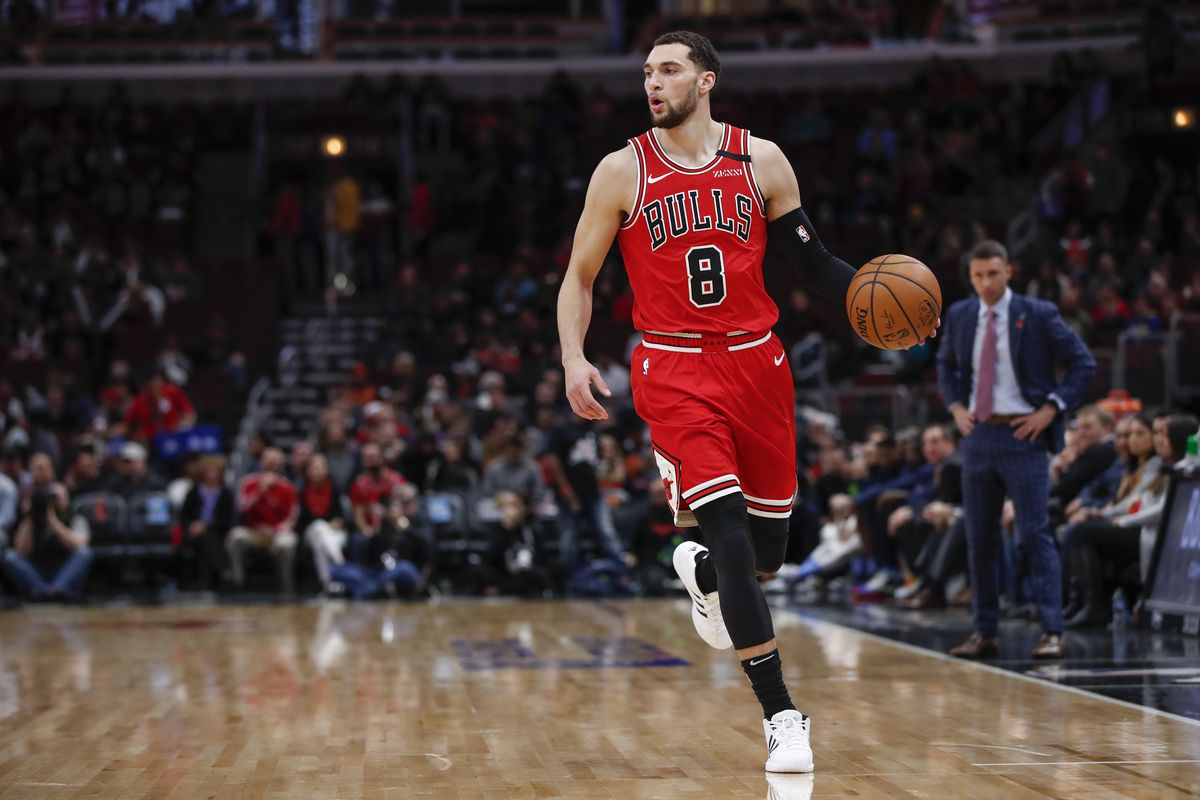 Chicago Bulls guard Zach LaVine brings the ball up court against the Minnesota Timberwolves during the first half at United Center.