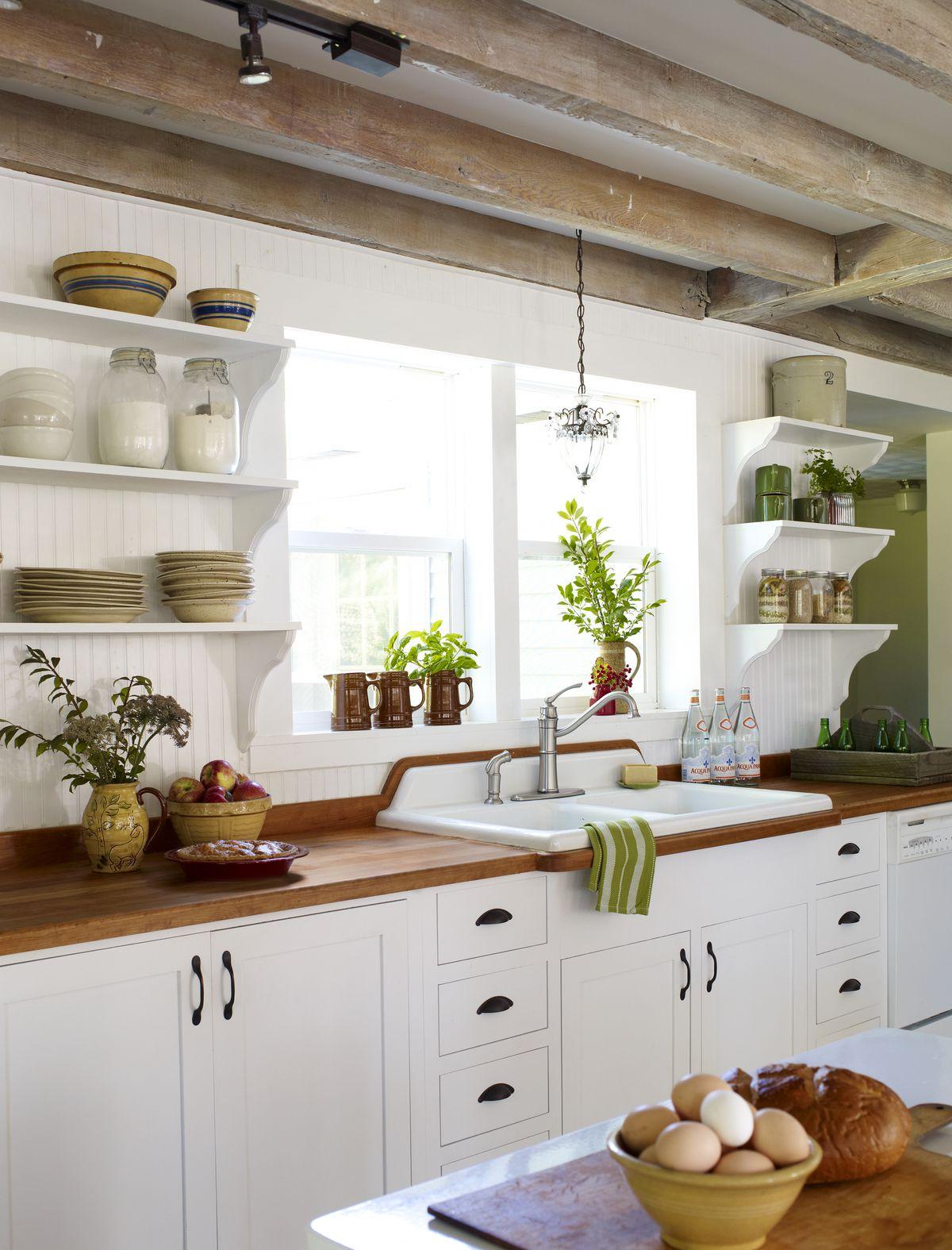 Farmhouse style wood countertop in kitchen.