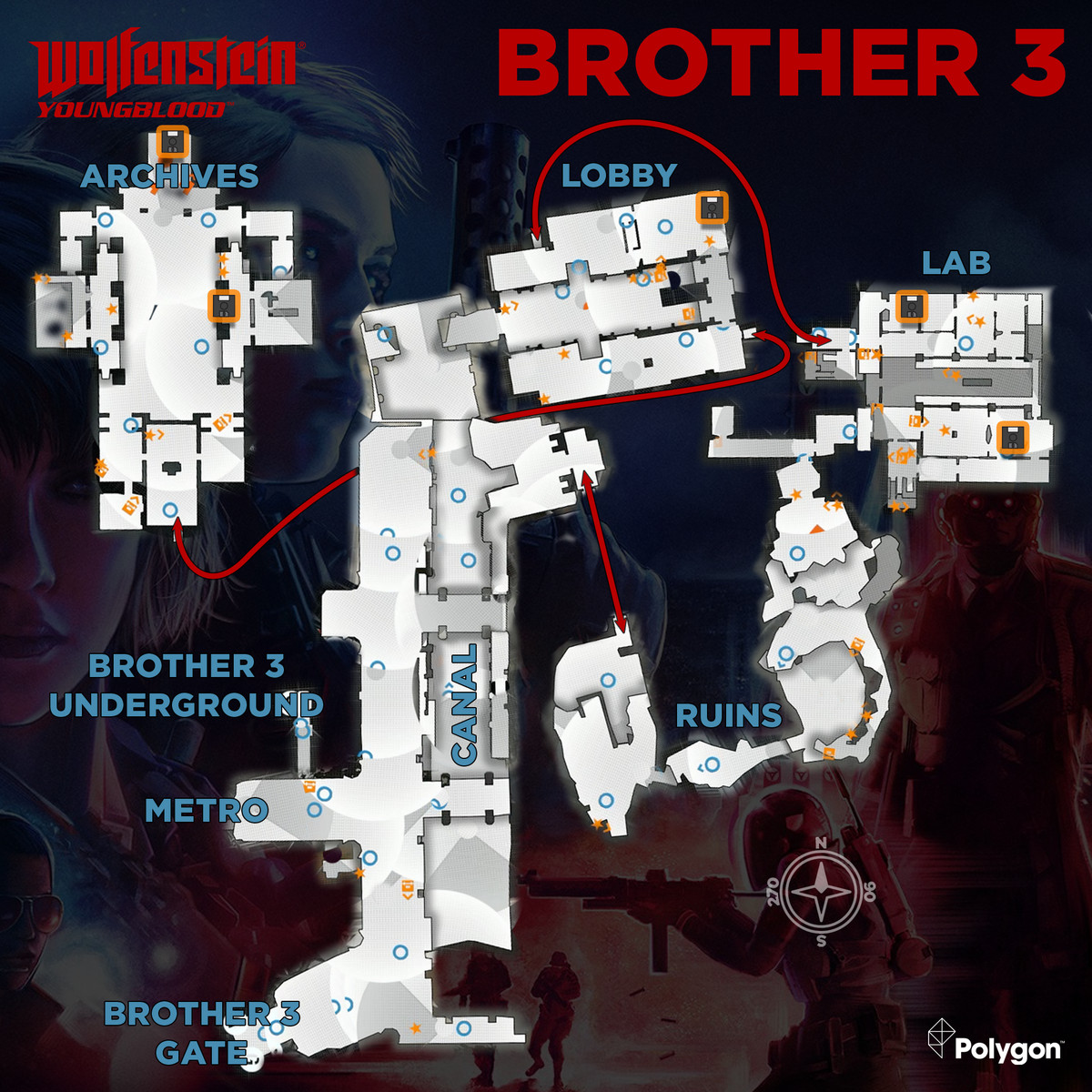 Wolfenstein: Youngblood Brother 3 map with Floppy Disks icons