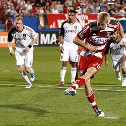 FRISCO, TX - APRIL 25:  Brek Shea #20 of the FC Dallas scores a goal on a penalty kick against Real Salt Lake at FC Dallas Stadium on April 25, 2012 in Frisco, Texas.  (Photo by Tom Pennington/Getty Images)