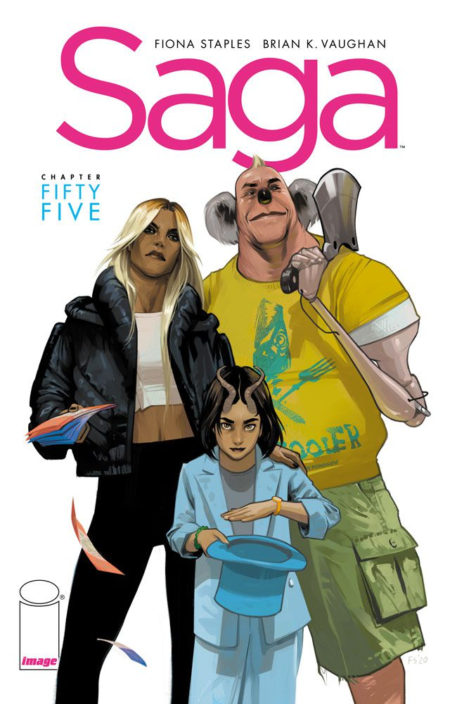 Hazel and two unknown characters - a slender woman in a bulbous top and puffy jacket, and an ax-wielding man with a koala-like face - on the cover of Saga # 55 (2022).