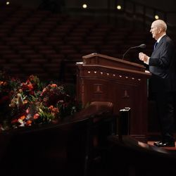President Russell M. Nelson, president of The Church of Jesus Christ of Latter-day Saints, announces new temple locations during the Sunday afternoon session of the 191st Semiannual General Conference in the Conference Center in Salt Lake City on Sunday, Oct. 3, 2021.