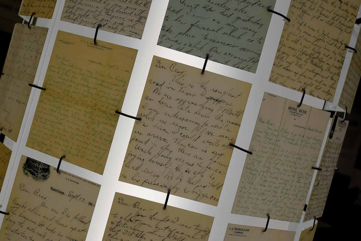 Courtship letters written by Harry S. Truman to Bess Wallace are part of an exhibit about the early life of Truman at the Harry S. Truman Presidential Library and Museum