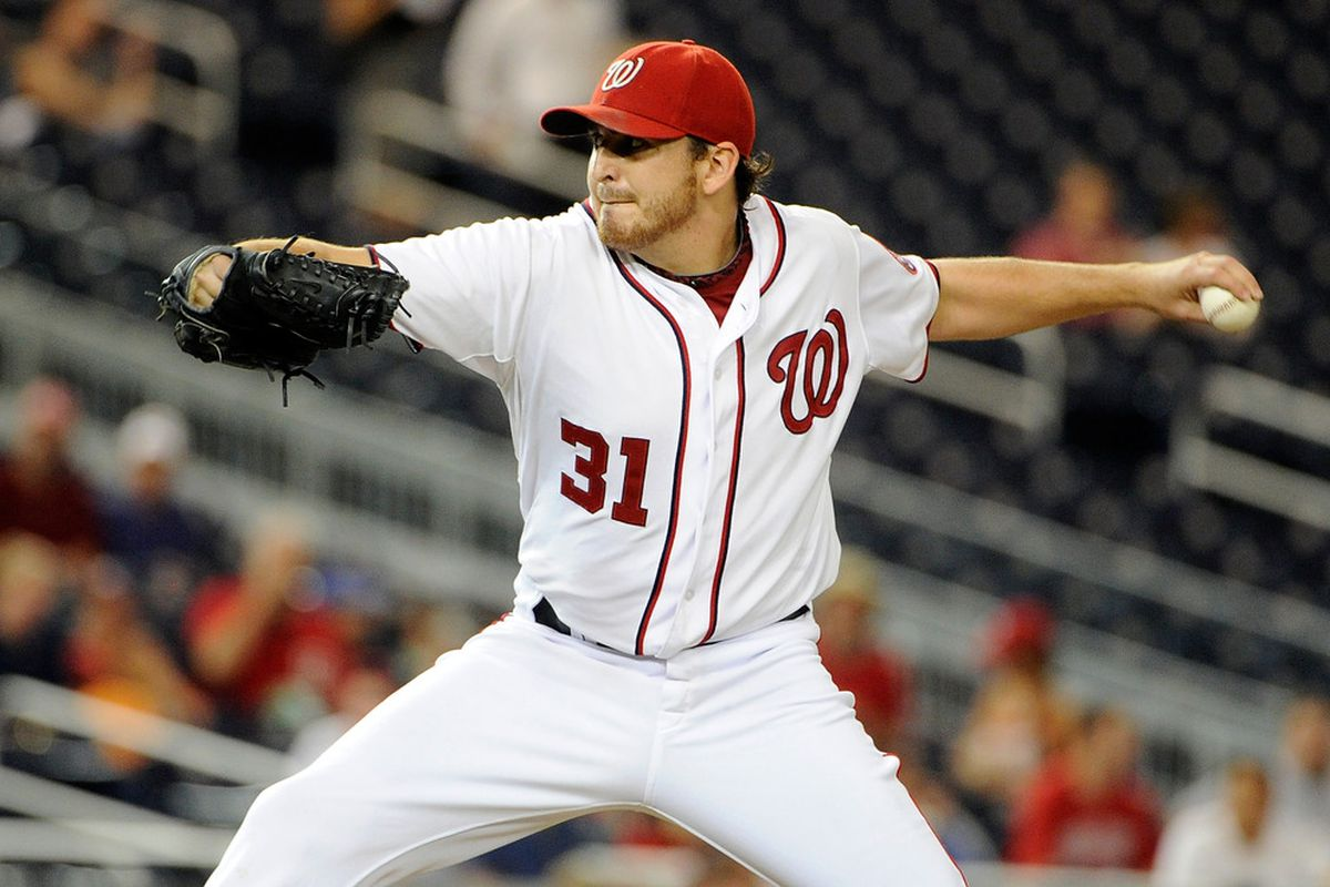 WASHINGTON, DC - AUGUST 25:  John Lannan #31 of the Washington Nationals pitches against the Arizona Diamondbacks at Nationals Park on August 25, 2011 in Washington, DC.  (Photo by Greg Fiume/Getty Images)