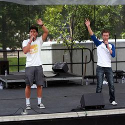 Zac Love, Ammon Tuimaualuga, Tanner Myler and Patch Crowe perform as the band, Beyond 5, at Five-O Fest, a free community festival hosted by the Utah Anti-Bullying Coalition, Safe2Help and the Salt Lake City Police Foundation outside of the Public Safety Building in Salt Lake City on Saturday, May 31, 2014.