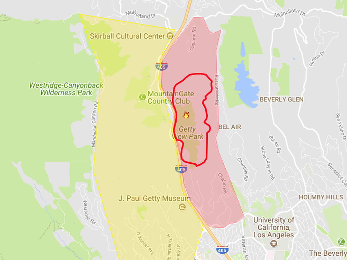 Skirball Fire map, including evacuation zones   Curbed LA