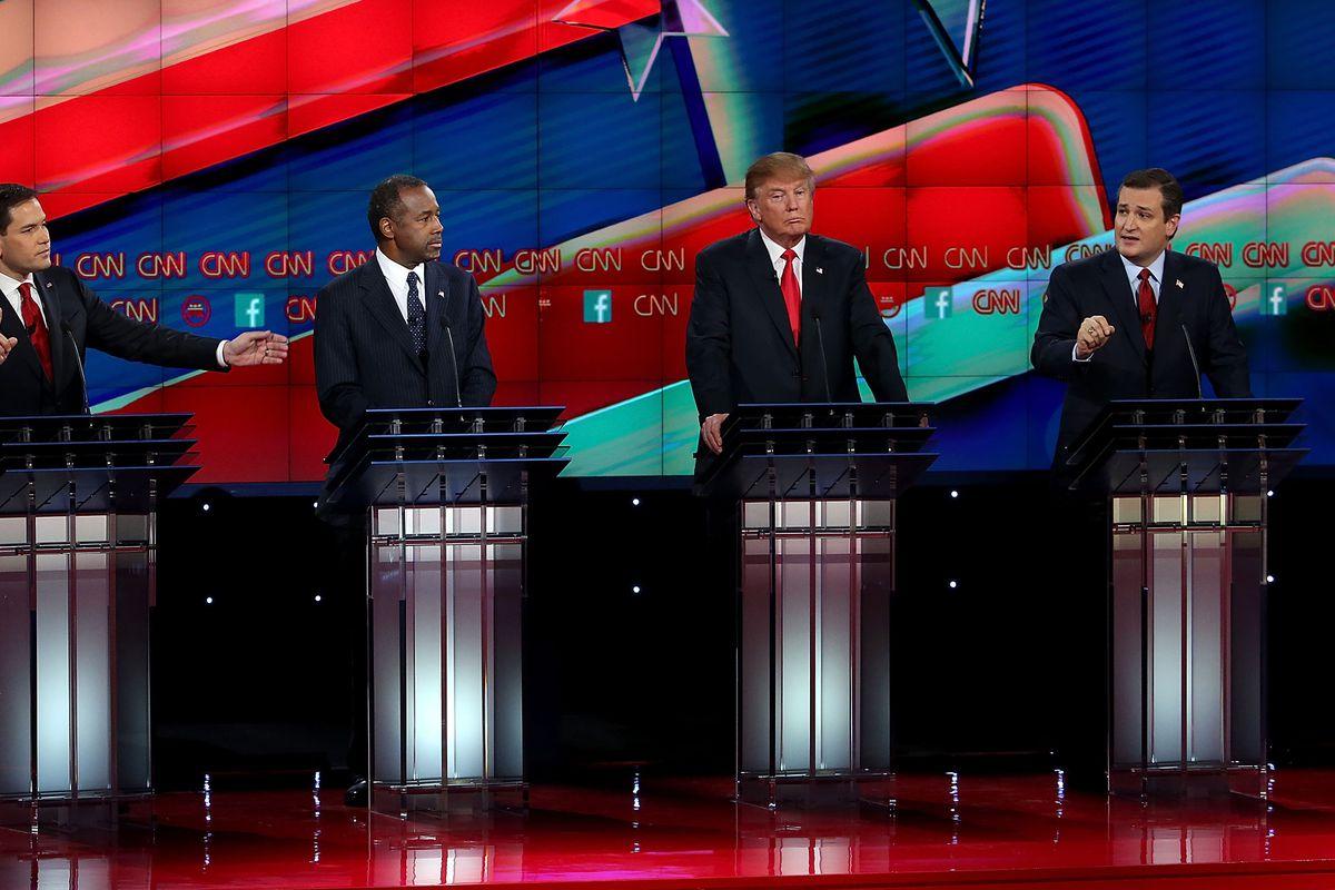 Marco Rubio, Ben Carson, Donald Trump, and Ted Cruz at the December 15 debate in Las Vegas.