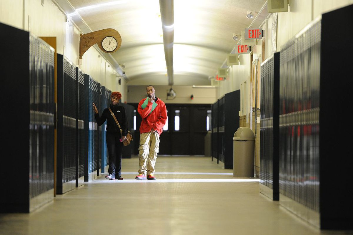 Students walk through the halls at the Career Technology Center at Arsenal Technical High School.