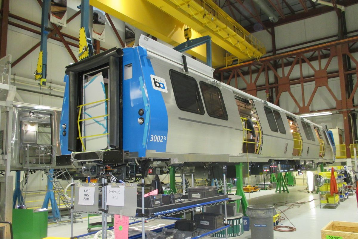 A new train car under construction at the factory.