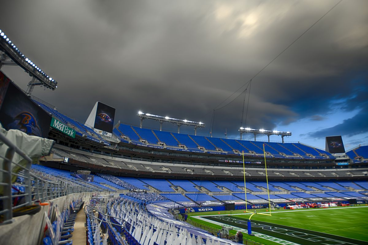 An 18 frame composite high dynamic range (HDR) image prior to the Kansas City Chiefs game versus the Baltimore Ravens as storm cloud move in on September 28, 2020 at M&T Bank Stadium in Baltimore, MD.