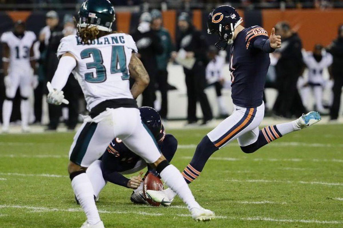 f7f69f20b18 The Bears' Cody Parkey kicks a field goal against the Eagles.   Jonathan  Daniel/Getty Images