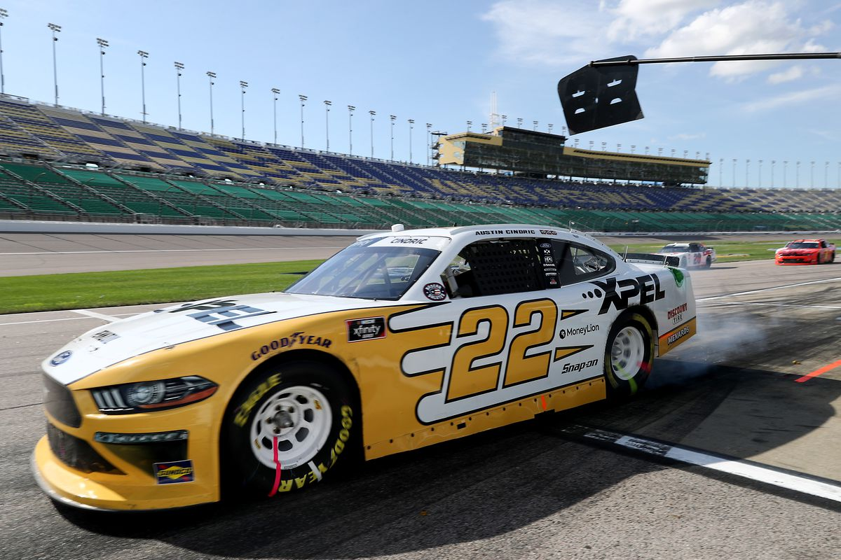 Austin Cindric, driver of the #22 XPEL Ford, exits pit road during the NASCAR Xfinity Series Kansas Lottery 250 at Kansas Speedway on July 25, 2020 in Kansas City, Kansas.