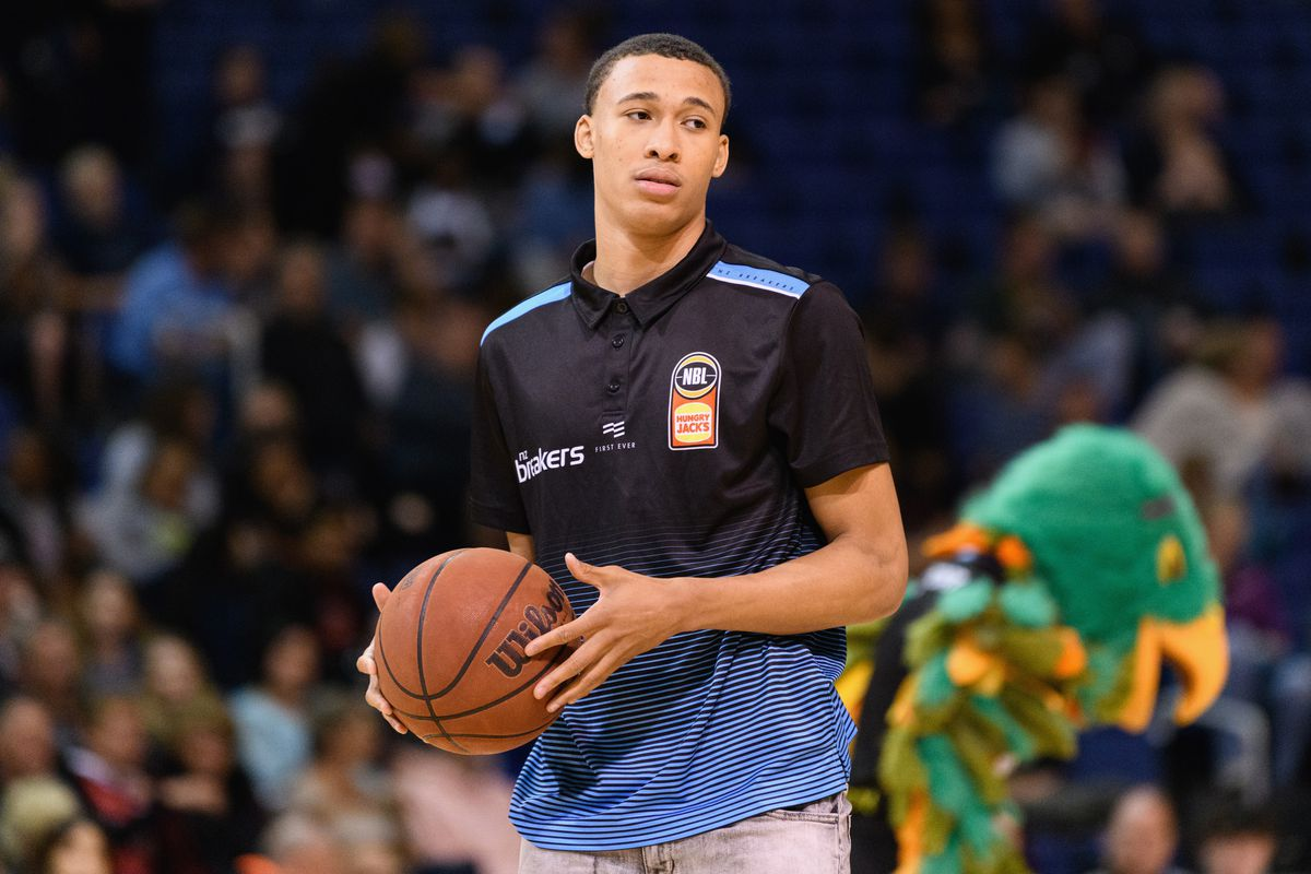 RJ Hampton of the Breakers looks on prior to the round 12 NBL match between the New Zealand Breakers and the South East Melbourne Phoenix at Horncastle Arena on December 20, 2019 in Christchurch, New Zealand.