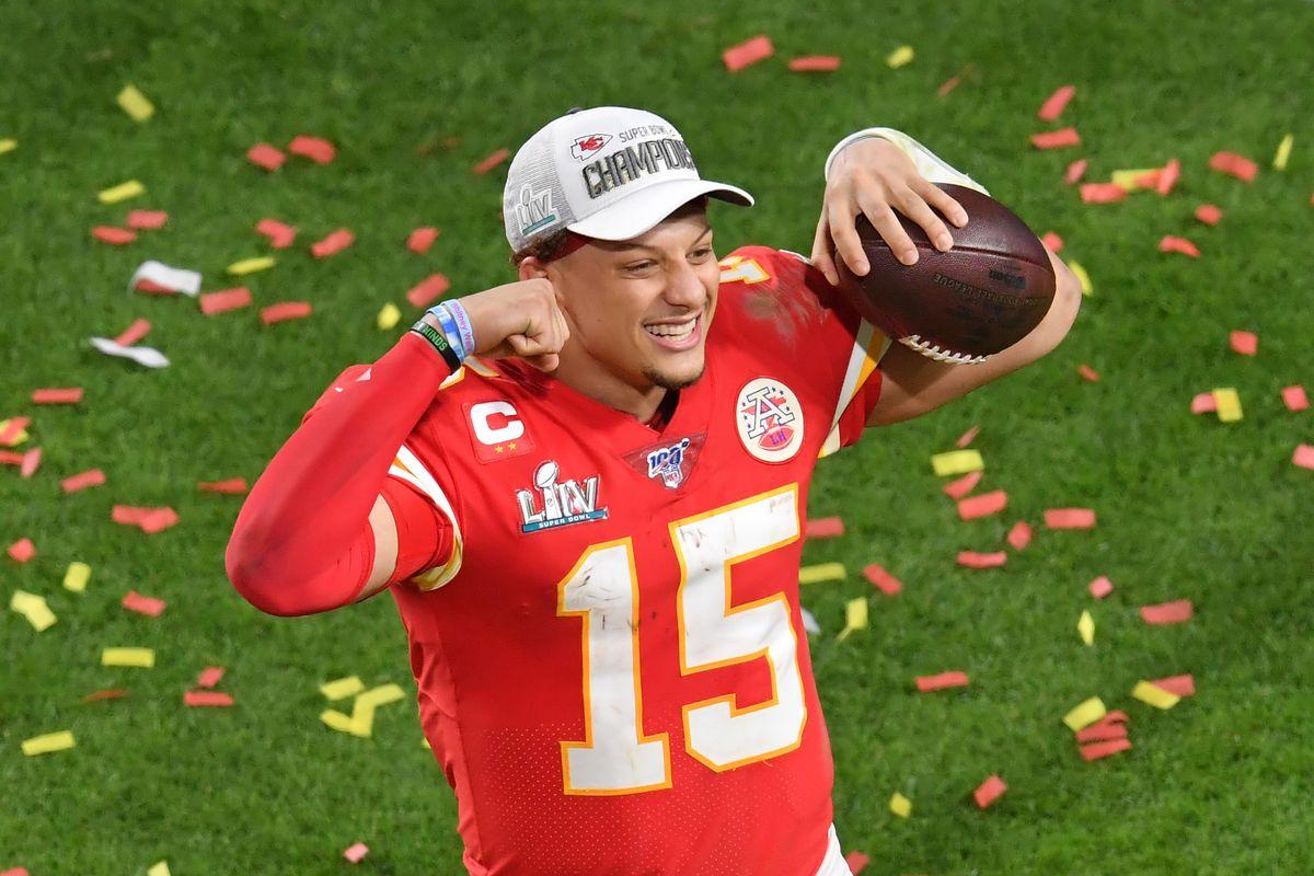 Kansas City Chiefs quarterback Patrick Mahomes  celebrates after defeating the San Francisco 49ers in Super Bowl LIV at Hard Rock Stadium.