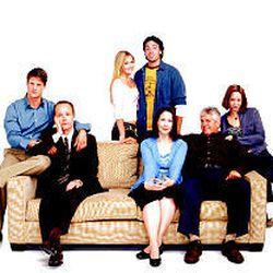 "Christopher Sieber, John Benjamin Hickey, Maggie Lawson, Reid Scott, Harriet Sansom Harris, Lenny Clarke and Paige Moss star in ""It's All Relative."""
