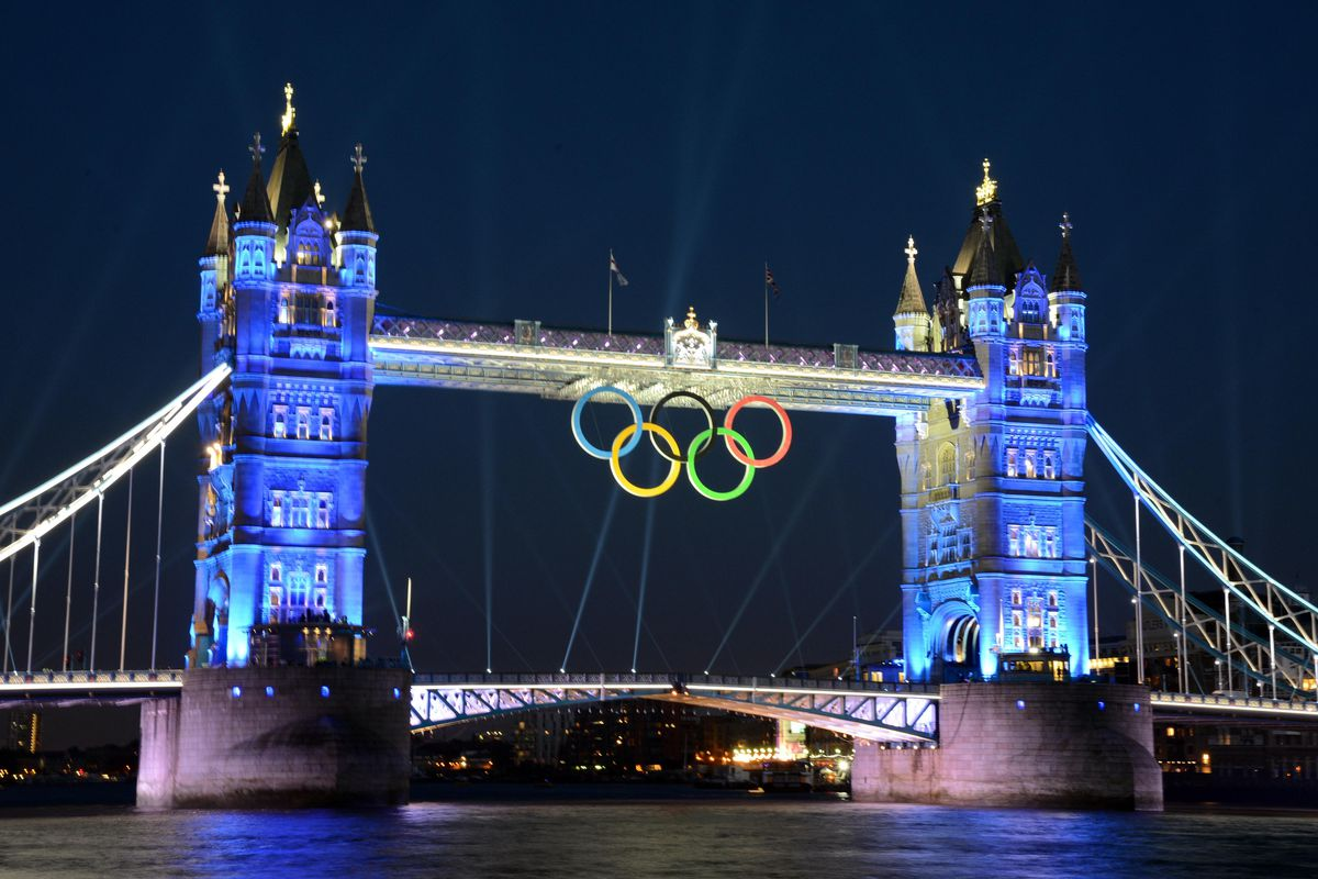 Jul 26, 2012; London, United Kingdom; General view of the Tower Bridge with Olympic rings and the River Thames one day before the 2012 London Olympics. Mandatory Credit: Kirby Lee-USA TODAY Sports