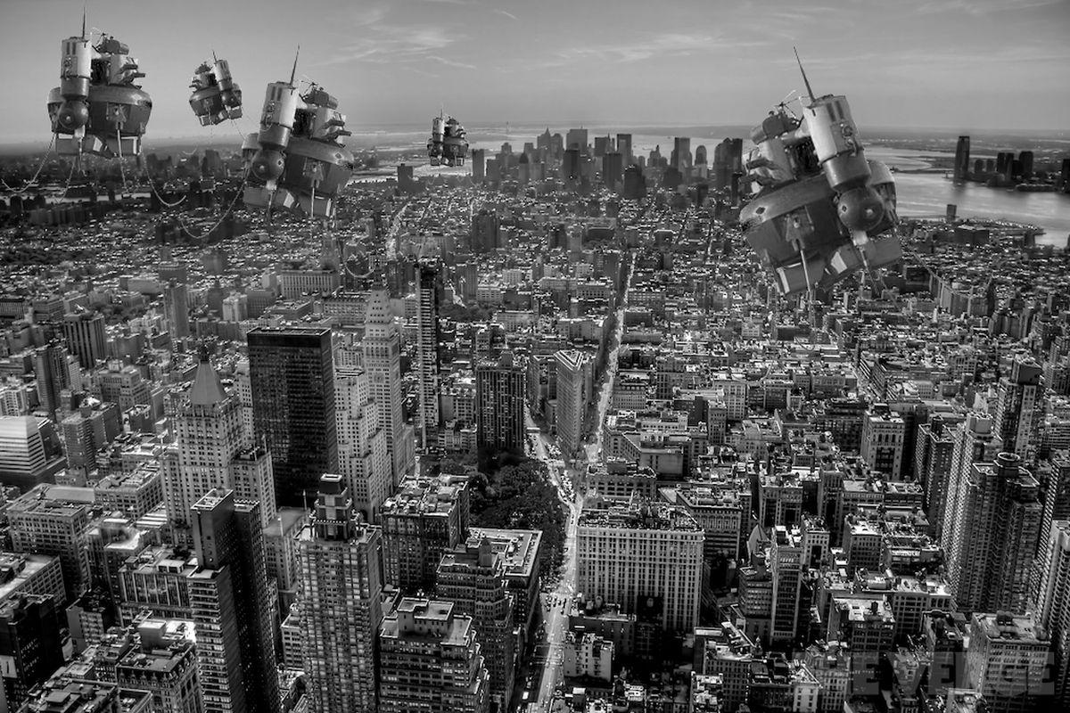 drones city 1020 stock