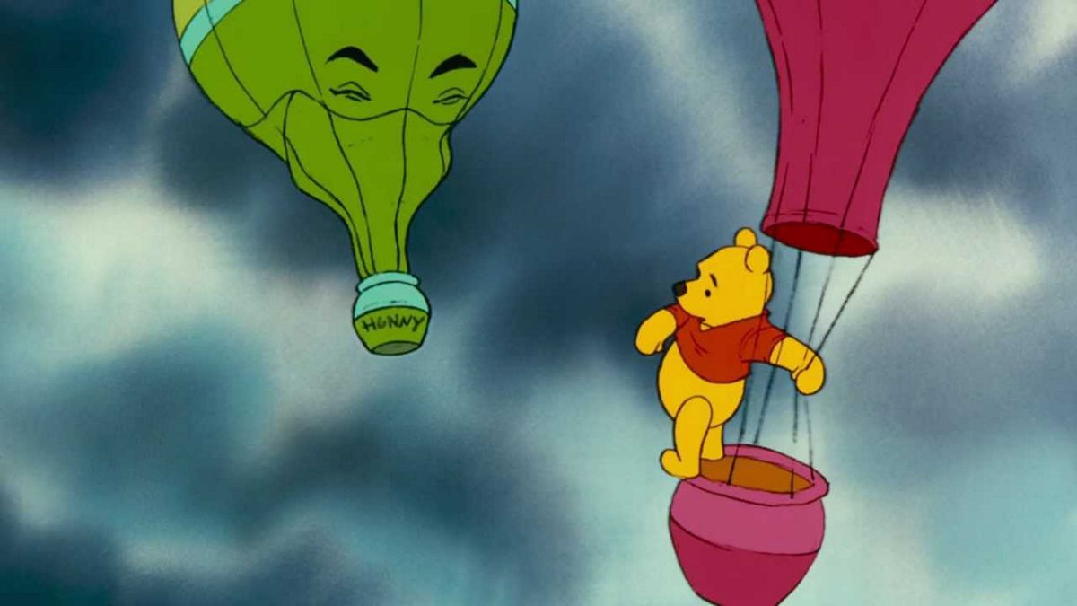 Heffalumps and Woozles turn into hot air balloons for pooh to jump from