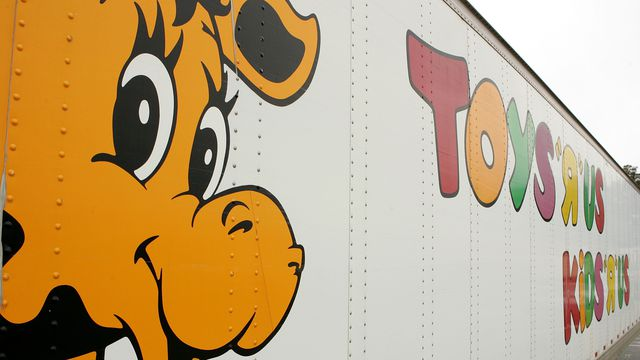 Geoffrey the Giraffe is seen on the side of a Toys 'R' Us truck March 17, 2005 in Colma, California.