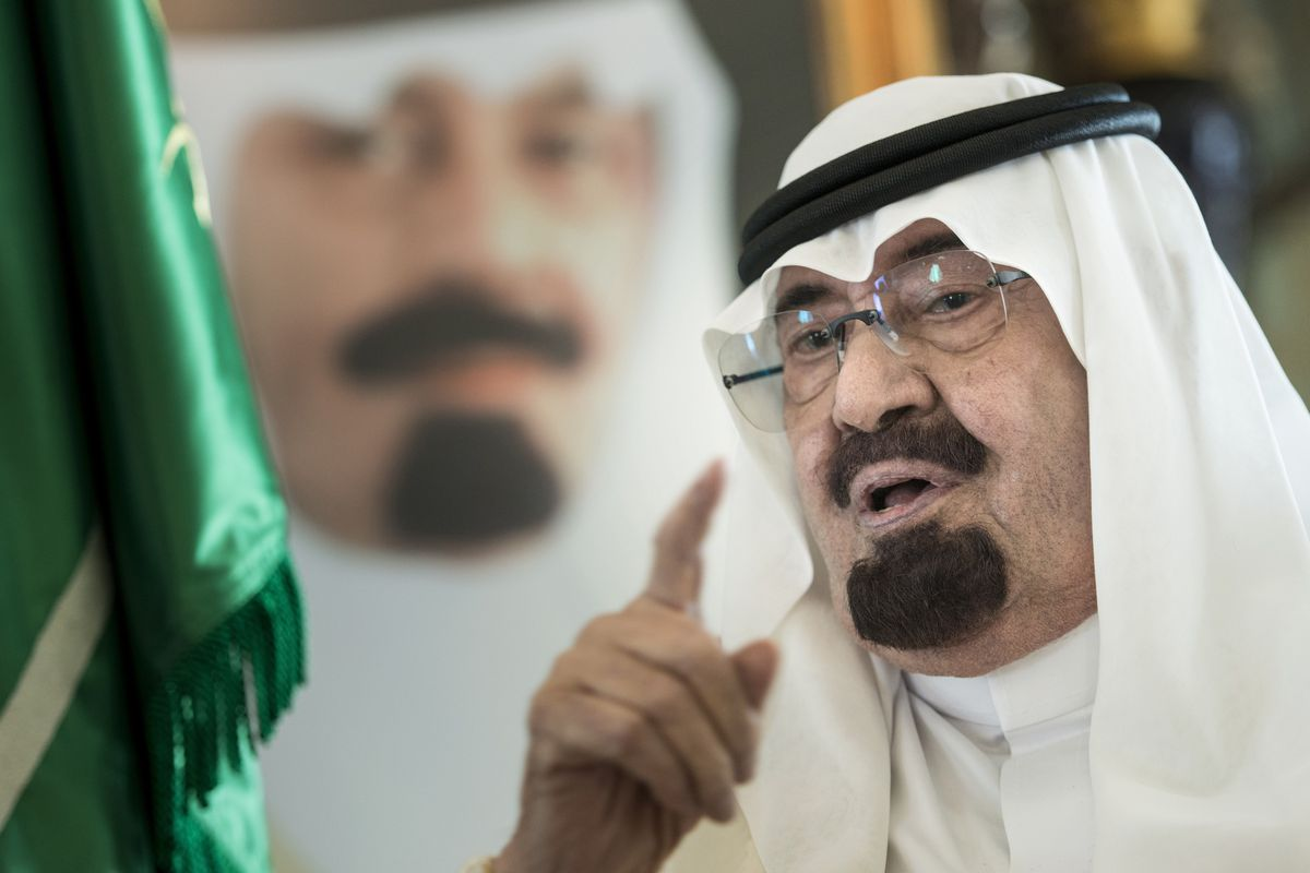 Now Deceased Saudi King Abdullah Bin Abdulaziz Al Saud Speaks Before A Meeting With The US Secretary Of State At His Private Residence On June 27 2014