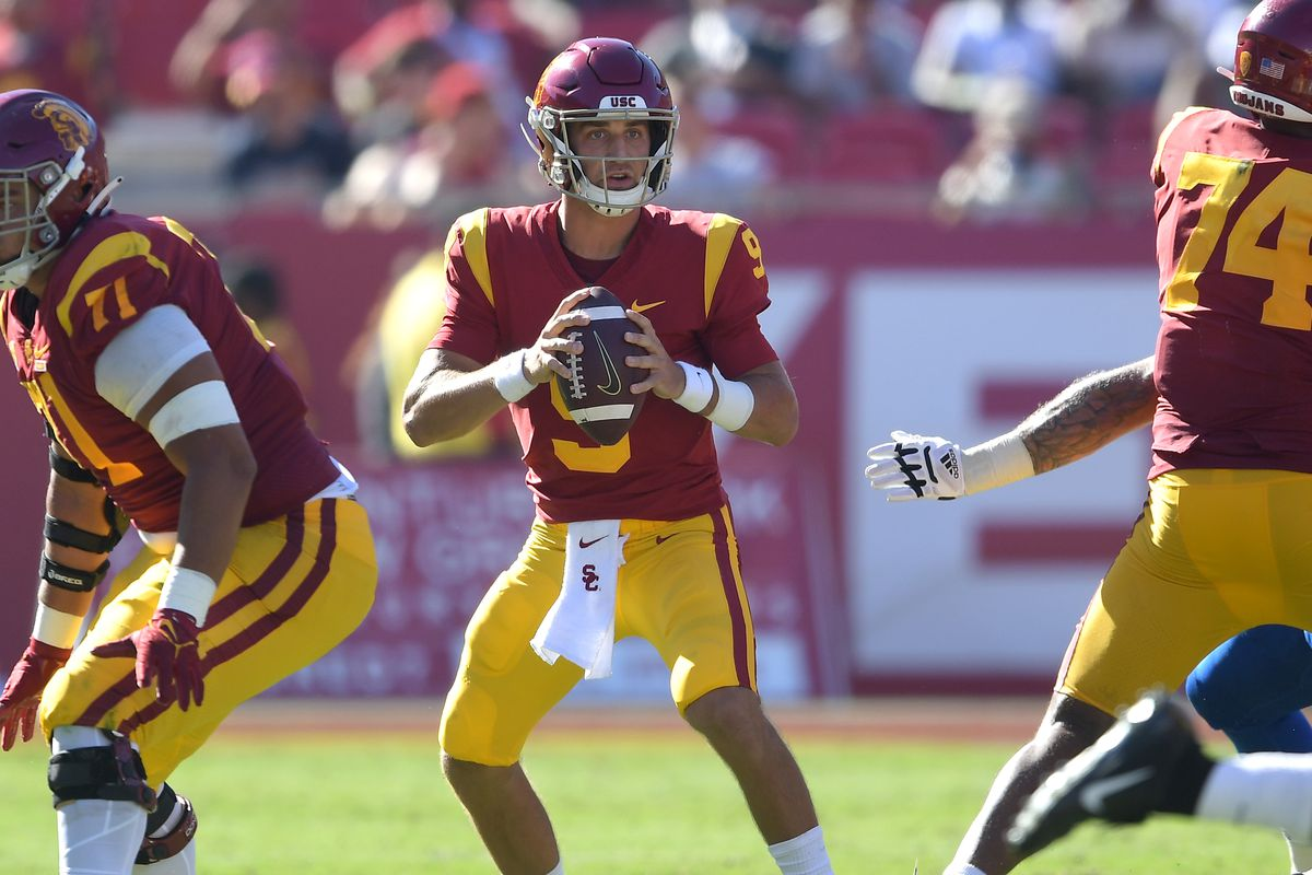 USC Trojans quarterback Kedon Slovis sets to pass in the second half of the game against the San Jose State Spartans at United Airlines Field at Los Angeles Memorial Coliseum.