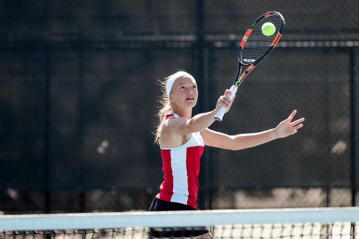 The 3A first singles match of the girls tennis state championship at Liberty Park in Salt Lake City on Saturday, Oct. 12, 2019.