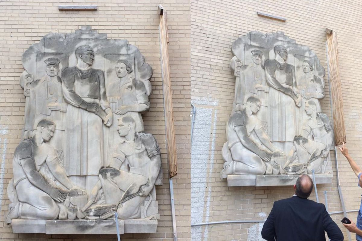"""Two images showing the massive stone sculpture of the """"New South."""""""