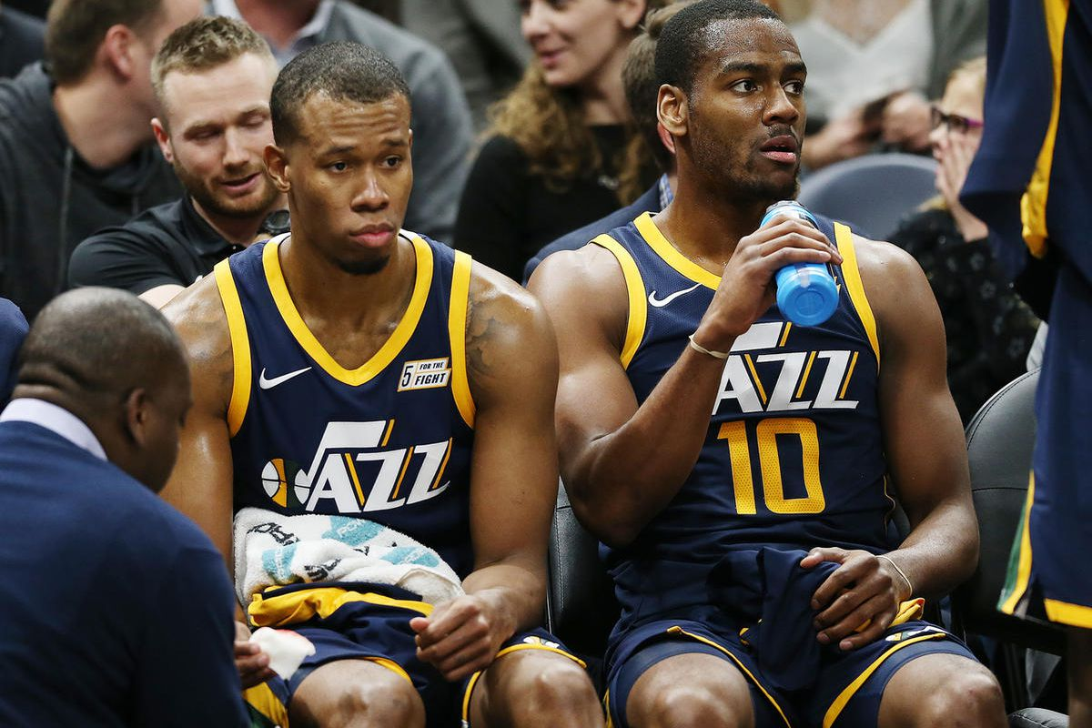 FILE: Utah Jazz guard Rodney Hood (5) and Utah Jazz guard Alec Burks (10) sit on the bench as the Utah Jazz and the New Orleans Pelicans play an NBA basketball game at Vivint arena in Salt Lake City on Wednesday, Jan. 3, 2018. Pelicans won 108-98.