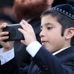 Eli Cohen documents the traditional Chabad Lubavich Jewish wedding of his brother, Rabbi Mendy Cohen, to Chaya Zippel at the Grand America Hotel in Salt Lake City on Monday, Sept. 12, 2016.