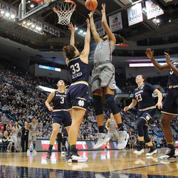 UConn's Azura Stevens (23) shoots over Notre Dame's Kathryn Westbeld (33) during the Notre Dame Fighting Irish vs UConn Huskies women's college basketball game in the Women's Jimmy V Classic at the XL Center in Hartford, CT on December 3, 2017.