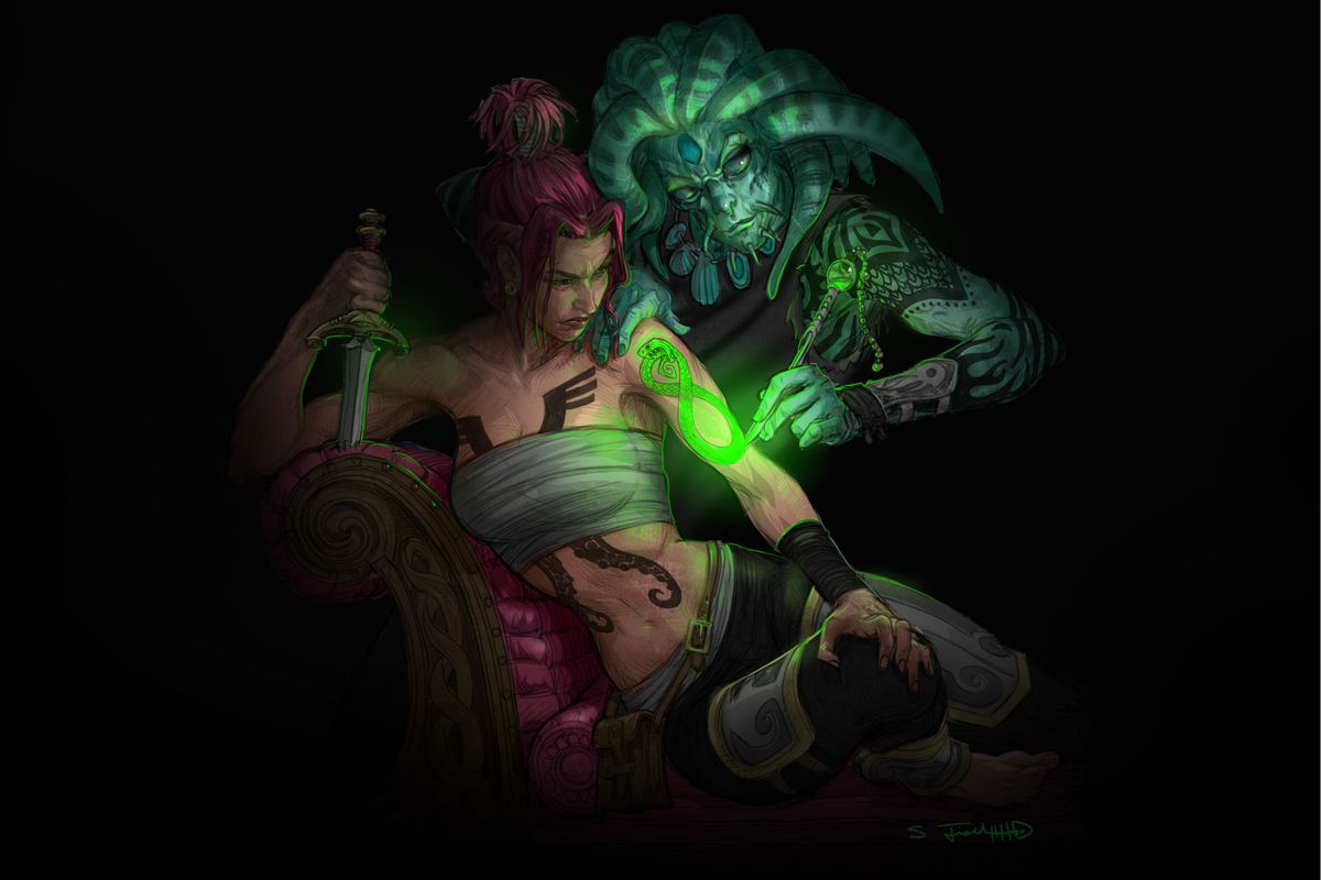 A woman grasps the pommel of a knife while a man with tentacles on his head carves a glowing tattoo into her arm.