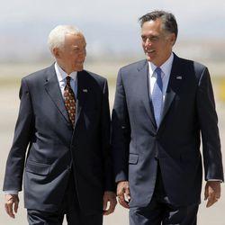 Senator Orrin Hatch greets Presidential candidate Mitt Romney Friday, June 8, 2012 at the Salt Lake executive terminal.