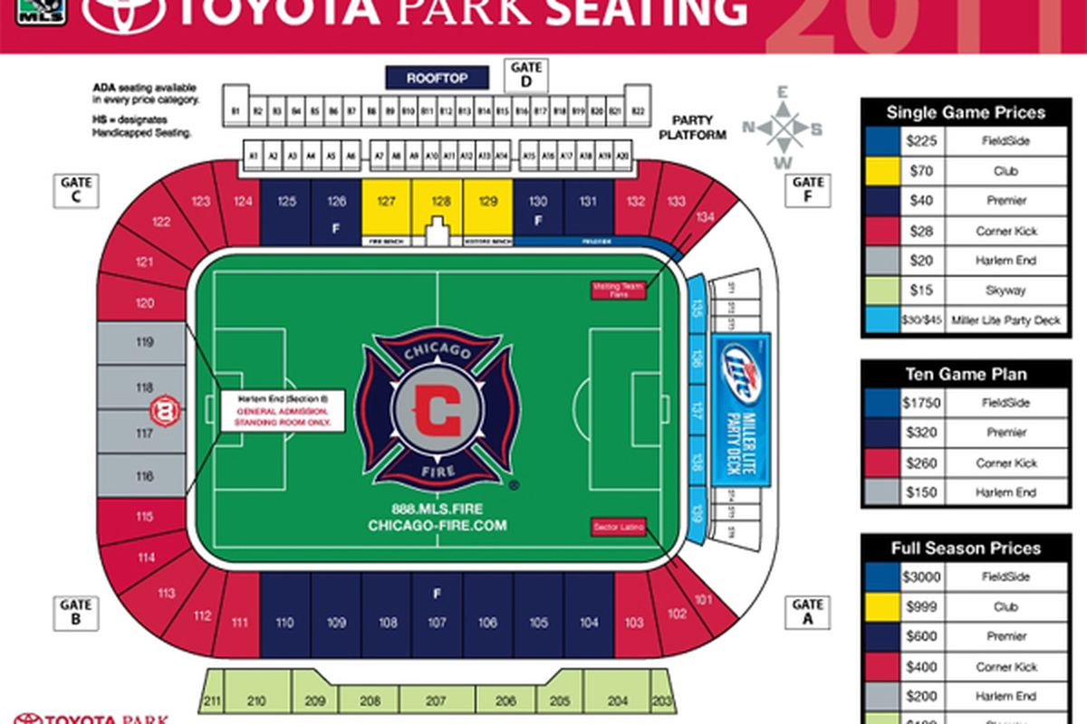 Take note of the section numbers on the map when different concession stands around the stadium are mentioned.