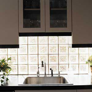 <p>Glass-block lets natural light in while providing privacy. Its strongly geometrical patterns make it most suitable for forward-looking kitchens.</p>