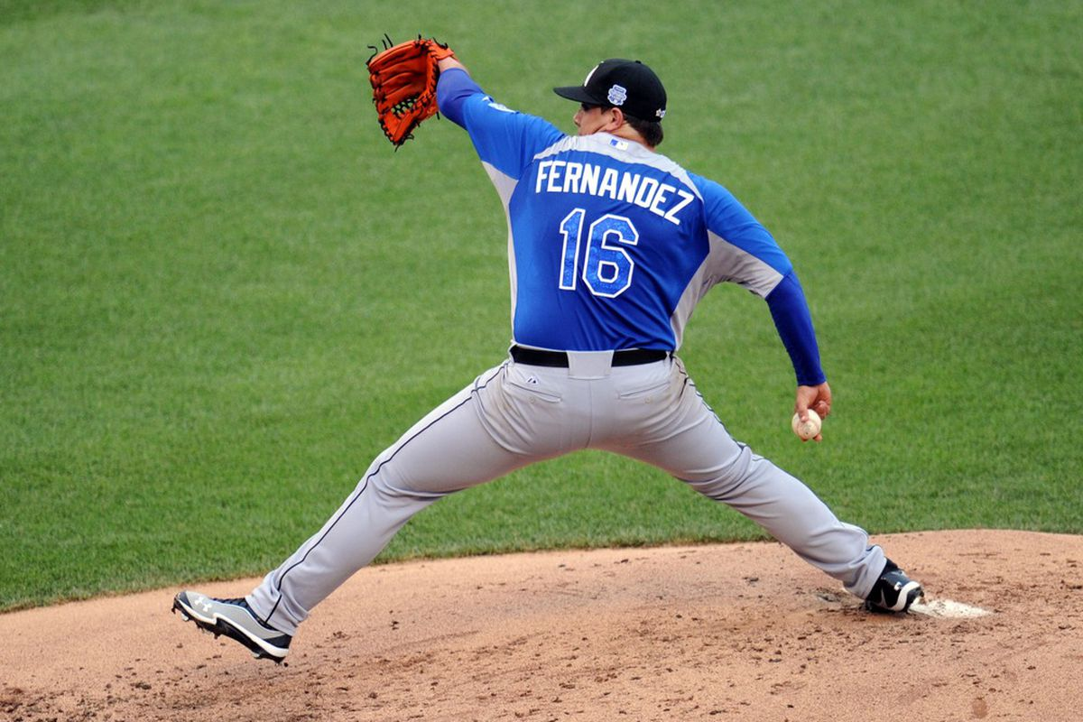 July 8, 2012; Kansas City, MO, USA; World pitcher Jose Fernandez delivers a pitch during the second inning of the 2012 All Star Futures Game at Kauffman Stadium.  Mandatory Credit: Peter G. Aiken-US PRESSWIRE