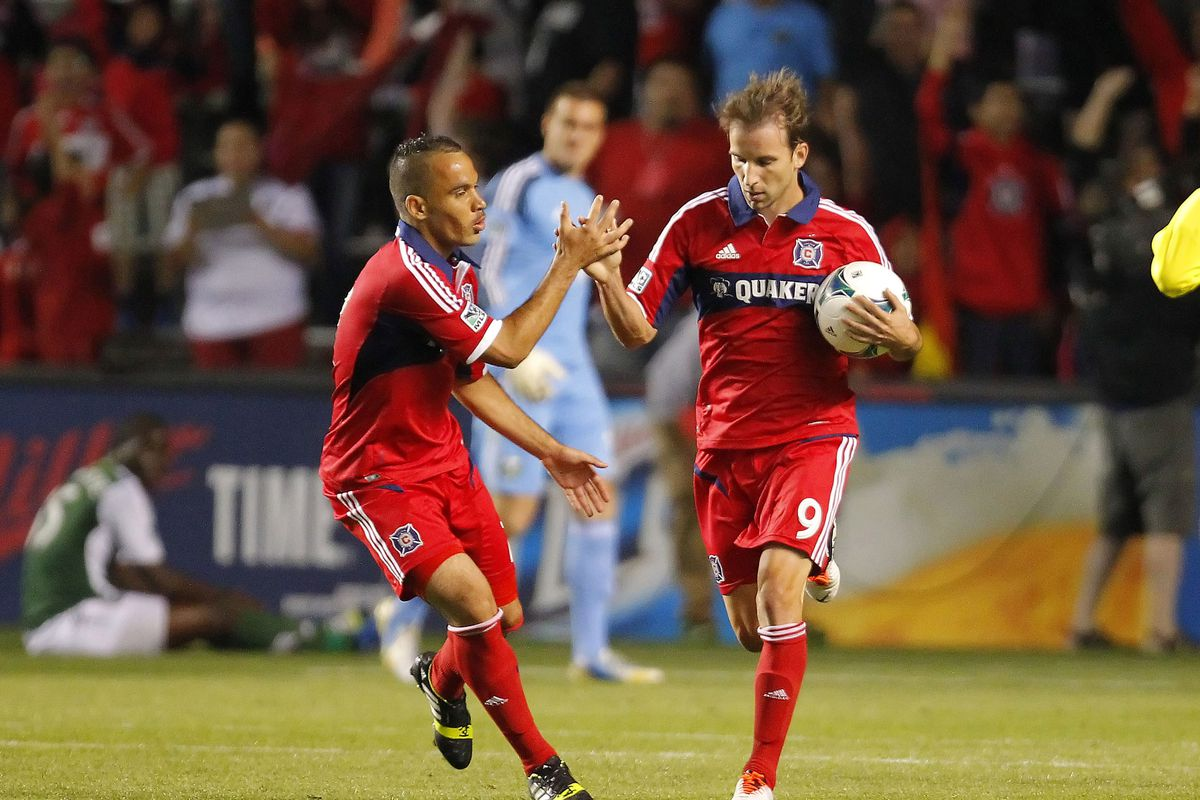 Mike Magee (right) has made an impression for Chicago Fire since his transfer from LA Galaxy